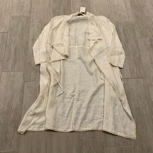 NEW Zara 100% Linen Open Front Coat Jacket